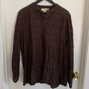 NWT Michael Kors Chocolate Floral Lace Button up